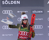 Second placed Mikaela Shiffrin of USA celebrates her medal won in the women giant slalom race of the Audi FIS Alpine skiing World cup in Soelden, Austria. First race of women Audi FIS Alpine skiing World cup season 2019-2020, women giant slalom, was held on Rettenbach glacier above Soelden, Austria, on Saturday, 26th of October 2019.