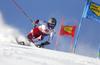 Manuel Feller of Austria skiing during the first run of the men giant slalom race of the Audi FIS Alpine skiing World cup in Soelden, Austria. First race of men Audi FIS Alpine skiing World cup season 2019-2020, men giant slalom, was held on Rettenbach glacier above Soelden, Austria, on Sunday, 27th of October 2019.
