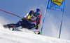 Dominik Paris of Italy skiing during the first run of the men giant slalom race of the Audi FIS Alpine skiing World cup in Soelden, Austria. First race of men Audi FIS Alpine skiing World cup season 2019-2020, men giant slalom, was held on Rettenbach glacier above Soelden, Austria, on Sunday, 27th of October 2019.