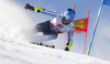 Marlon Sjoberg of Finland skiing during the first run of the men giant slalom race of the Audi FIS Alpine skiing World cup in Soelden, Austria. First race of men Audi FIS Alpine skiing World cup season 2019-2020, men giant slalom, was held on Rettenbach glacier above Soelden, Austria, on Sunday, 27th of October 2019.