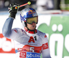 Winner Alexis Pinturault of France reacts in finish of the second run of the men giant slalom race of the Audi FIS Alpine skiing World cup in Soelden, Austria. First race of men Audi FIS Alpine skiing World cup season 2019-2020, men giant slalom, was held on Rettenbach glacier above Soelden, Austria, on Sunday, 27th of October 2019.