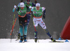 Renaud Jay of France (L), Joni Maeki of Finland (M) and Marcus Grate of Sweden (R) skiing in finals of men sprint race of FIS Cross country skiing World Cup in Planica, Slovenia. Finals of men sprint finals of FIS Cross country skiing World Cup in Planica, Slovenia were held on Saturday, 21st of December 2019 in Planica, Slovenia.