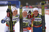 Second placed Stina Nilsson of Sweden (L), winner Jonna Sundling of Sweden (M) and third placed Julia Kern of USA celebrate their medals won in the sprint race of FIS Cross country skiing World Cup in Planica, Slovenia. Finals of women sprint finals of FIS Cross country skiing World Cup in Planica, Slovenia were held on Saturday, 21st of December 2019 in Planica, Slovenia.