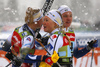 Maja Dahlqvist of Sweden (L), Jonna Sundling of Sweden and Linn Svahn of Sweden celebrating Swedens double win  in finals of women team sprint race of FIS Cross country skiing World Cup in Planica, Slovenia. Finals of women team sprint finals of FIS Cross country skiing World Cup in Planica, Slovenia were held on Sunday, 22nd of December 2019 in Planica, Slovenia.