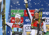 `second placed team Jonna Sundling of Sweden and Stina Nilsson of Sweden celebrate their medals won in the women team sprint race of FIS Cross country skiing World Cup in Planica, Slovenia. Finals of women team sprint finals of FIS Cross country skiing World Cup in Planica, Slovenia were held on Sunday, 22nd of December 2019 in Planica, Slovenia.