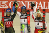 Winner Petra Vlhova of Slovakia (M), second placed  Mikaela Shiffrin of USA  (L) and third placed Katharina Liensberger of Austria (R) celebrating after the women slalom Snow Queen trophy race of the Audi FIS Alpine skiing World cup in Zagreb, Croatia. Women Snow Queen Trophy slalom race of Audi FIS Alpine skiing World cup season 2019-2020, was held on Sljeme above Zagreb, Croatia, on Saturday, 4th of January 2020.