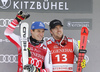 Second placed Matthias Mayer of Austria (L) and Aleksander Aamodt Kilde of Norway (R) celebrate their medals won in the men super-g race of the Audi FIS Alpine skiing World cup in Kitzbuehel, Austria. Men super-g race of Audi FIS Alpine skiing World cup 2019-2020, was held on Streif in Kitzbuehel, Austria, on Friday, 24th of January 2020.