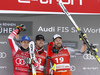 Winner Kjetil Jansrud of Norway (R), second placed Matthias Mayer of Austria (L) and Aleksander Aamodt Kilde of Norway (M) celebrate their medals won in the men super-g race of the Audi FIS Alpine skiing World cup in Kitzbuehel, Austria. Men super-g race of Audi FIS Alpine skiing World cup 2019-2020, was held on Streif in Kitzbuehel, Austria, on Friday, 24th of January 2020.