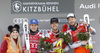 Winner Kjetil Jansrud of Norway (R), second placed Matthias Mayer of Austria (2nd from L) and Aleksander Aamodt Kilde of Norway (M) celebrate their medals won in the men super-g race of the Audi FIS Alpine skiing World cup in Kitzbuehel, Austria together with Lindsey Vonn (L). Men super-g race of Audi FIS Alpine skiing World cup 2019-2020, was held on Streif in Kitzbuehel, Austria, on Friday, 24th of January 2020.