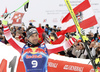 Second placed Vincent Kriechmayr of Austria celebrate their medals won in the men downhill race of the Audi FIS Alpine skiing World cup in Kitzbuehel, Austria. Men downhill race of Audi FIS Alpine skiing World cup 2019-2020, was held on Streif in Kitzbuehel, Austria, on Saturday, 25th of January 2020.