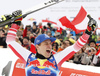 Winner Matthias Mayer of Austria celebrate their medals won in the men downhill race of the Audi FIS Alpine skiing World cup in Kitzbuehel, Austria. Men downhill race of Audi FIS Alpine skiing World cup 2019-2020, was held on Streif in Kitzbuehel, Austria, on Saturday, 25th of January 2020.