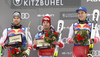 Winner Matthias Mayer of Austria (M), second placed Vincent Kriechmayr of Austria (L) and also second placed Beat Feuz of Switzerland (R) celebrate their medals won in the men downhill race of the Audi FIS Alpine skiing World cup in Kitzbuehel, Austria. Men downhill race of Audi FIS Alpine skiing World cup 2019-2020, was held on Streif in Kitzbuehel, Austria, on Saturday, 25th of January 2020.