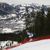 Johan Clarey of France skiing during men downhill race of the Audi FIS Alpine skiing World cup in Kitzbuehel, Austria. Men downhill race of Audi FIS Alpine skiing World cup 2019-2020, was held on Streif in Kitzbuehel, Austria, on Saturday, 25th of January 2020.