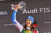 Winner Petra Vlhova of Slovakia celebrates her medal won in the women slalom race of the Audi FIS Alpine skiing World cup in Kranjska Gora, Slovenia. Women Golden Fox trophy slalom race of Audi FIS Alpine skiing World cup 2019-2020, was transferred from Maribor to Kranjska Gora, Slovenia, and was held on Sunday, 16th of February 2020.