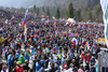 Fans during ski flying team competition of the FIS ski jumping World cup in Planica, Slovenia. Ski flying team competition of FIS Ski jumping World cup in Planica, Slovenia, was held on Saturday, 25th of March 2017.