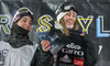 2nd placed Marcus Cleveland und 1st placed Enni Rukajarvi (FIN) during the Air and Style Snowboard Competition and Festival at the Olympiaworld in Innsbruck, Austria on 2017/02/04.