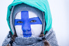 Finnish fan during the Ladies FIS Cross Country World Cup of the Nordic Opening at the Nordic Arena in Kuka, Finland on 2013/12/01.