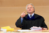 Judge Guenther Boehler during a trial at the Court against Harald Wurm of aggravated fraud Sport at the Landesgericht in Innsbruck, Austria on 2015/02/09.
