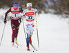 Charlotte Kalla of Sweden (32) and Anna Zherebyateva of Russia (1)  skiing in women 10km classic race of Viessmann FIS Cross country skiing World cup in Planica, Slovenia. Women 10km classic race of Viessmann FIS Cross country skiing World cup was held on Sunday, 21st of January 2018 in Planica, Slovenia.