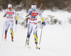 Hanna Falk of Sweden (27) and Ebba Andersson of Sweden (28) skiing in women 10km classic race of Viessmann FIS Cross country skiing World cup in Planica, Slovenia. Women 10km classic race of Viessmann FIS Cross country skiing World cup was held on Sunday, 21st of January 2018 in Planica, Slovenia.