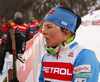 Krista Parmakoski of Finland in finish of women 10km classic race of Viessmann FIS Cross country skiing World cup in Planica, Slovenia. Women 10km classic race of Viessmann FIS Cross country skiing World cup was held on Sunday, 21st of January 2018 in Planica, Slovenia.