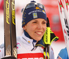 Charlotte Kalla of Sweden in finish after  women 10km classic race of Viessmann FIS Cross country skiing World cup in Planica, Slovenia. Women 10km classic race of Viessmann FIS Cross country skiing World cup was held on Sunday, 21st of January 2018 in Planica, Slovenia.