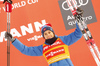 Third placed Heidi Weng of Norway celebrates on podium after  women 10km classic race of Viessmann FIS Cross country skiing World cup in Planica, Slovenia. Women 10km classic race of Viessmann FIS Cross country skiing World cup was held on Sunday, 21st of January 2018 in Planica, Slovenia.
