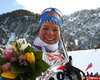 Winner Krista Parmakoski of Finland celebrates after  women 10km classic race of Viessmann FIS Cross country skiing World cup in Planica, Slovenia. Women 10km classic race of Viessmann FIS Cross country skiing World cup was held on Sunday, 21st of January 2018 in Planica, Slovenia.