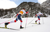 Emil Iversen of Norway (R) and Johannes Hoesflot Klaebo of Norway (L) skiing in men 15km classic race of Viessmann FIS Cross country skiing World cup in Planica, Slovenia. Men 15km classic race of Viessmann FIS Cross country skiing World cup was held on Sunday, 21st of January 2018 in Planica, Slovenia.