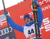 Winner Alexey Poltoranin of Kazakhstan celebrates his success on podium after 15km classic race of Viessmann FIS Cross country skiing World cup in Planica, Slovenia. Men 15km classic race of Viessmann FIS Cross country skiing World cup was held on Sunday, 21st of January 2018 in Planica, Slovenia.