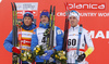 celebrate their success on podium after 15km classic race of Viessmann FIS Cross country skiing World cup in Planica, Slovenia. Men 15km classic race of Viessmann FIS Cross country skiing World cup was held on Sunday, 21st of January 2018 in Planica, Slovenia.