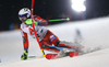 Henrik Kristoffersen of Norway skiing in the first run of the men The Nightrace, night slalom race of the Audi FIS Alpine skiing World cup in Schladming, Austria. Men slalom race of the Audi FIS Alpine skiing World cup was held in Schladming, Austria, on Tuesday, 23rd of January 2018.