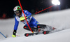 Stefano Gross of Italy skiing in the first run of the men The Nightrace, night slalom race of the Audi FIS Alpine skiing World cup in Schladming, Austria. Men slalom race of the Audi FIS Alpine skiing World cup was held in Schladming, Austria, on Tuesday, 23rd of January 2018.