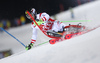 Marcel Hirscher of Austria skiing in the first run of the men The Nightrace, night slalom race of the Audi FIS Alpine skiing World cup in Schladming, Austria. Men slalom race of the Audi FIS Alpine skiing World cup was held in Schladming, Austria, on Tuesday, 23rd of January 2018.