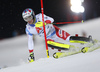 Daniel Yule of Switzerland skiing in the first run of the men The Nightrace, night slalom race of the Audi FIS Alpine skiing World cup in Schladming, Austria. Men slalom race of the Audi FIS Alpine skiing World cup was held in Schladming, Austria, on Tuesday, 23rd of January 2018.