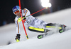 Fritz Dopfer of Germany skiing in the first run of the men The Nightrace, night slalom race of the Audi FIS Alpine skiing World cup in Schladming, Austria. Men slalom race of the Audi FIS Alpine skiing World cup was held in Schladming, Austria, on Tuesday, 23rd of January 2018.