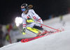 Manuel Feller of Austria skiing in the first run of the men The Nightrace, night slalom race of the Audi FIS Alpine skiing World cup in Schladming, Austria. Men slalom race of the Audi FIS Alpine skiing World cup was held in Schladming, Austria, on Tuesday, 23rd of January 2018.