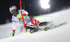 Luca Aerni of Switzerland skiing in the first run of the men The Nightrace, night slalom race of the Audi FIS Alpine skiing World cup in Schladming, Austria. Men slalom race of the Audi FIS Alpine skiing World cup was held in Schladming, Austria, on Tuesday, 23rd of January 2018.