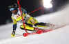 Mattias Hargin of Sweden skiing in the first run of the men The Nightrace, night slalom race of the Audi FIS Alpine skiing World cup in Schladming, Austria. Men slalom race of the Audi FIS Alpine skiing World cup was held in Schladming, Austria, on Tuesday, 23rd of January 2018.