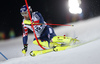 Dave Ryding of Great Britain skiing in the first run of the men The Nightrace, night slalom race of the Audi FIS Alpine skiing World cup in Schladming, Austria. Men slalom race of the Audi FIS Alpine skiing World cup was held in Schladming, Austria, on Tuesday, 23rd of January 2018.