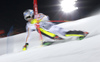 David Ketterer of Germany skiing in the first run of the men The Nightrace, night slalom race of the Audi FIS Alpine skiing World cup in Schladming, Austria. Men slalom race of the Audi FIS Alpine skiing World cup was held in Schladming, Austria, on Tuesday, 23rd of January 2018.