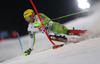 Stefan Hadalin of Slovenia skiing in the first run of the men The Nightrace, night slalom race of the Audi FIS Alpine skiing World cup in Schladming, Austria. Men slalom race of the Audi FIS Alpine skiing World cup was held in Schladming, Austria, on Tuesday, 23rd of January 2018.