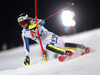 Jens Henttinen of Finland skiing in the first run of the men The Nightrace, night slalom race of the Audi FIS Alpine skiing World cup in Schladming, Austria. Men slalom race of the Audi FIS Alpine skiing World cup was held in Schladming, Austria, on Tuesday, 23rd of January 2018.