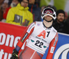 Jonathan Nordbotten of Norway reacts in finish of the second run of the men The Nightrace, night slalom race of the Audi FIS Alpine skiing World cup in Schladming, Austria. Men slalom race of the Audi FIS Alpine skiing World cup was held in Schladming, Austria, on Tuesday, 23rd of January 2018.