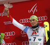 Third placed Daniel Yule of Switzerland celebrates on podium after the men The Nightrace, night slalom race of the Audi FIS Alpine skiing World cup in Schladming, Austria. Men slalom race of the Audi FIS Alpine skiing World cup was held in Schladming, Austria, on Tuesday, 23rd of January 2018.