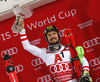 Winner Marcel Hirscher of Austria celebrates on podium after the men The Nightrace, night slalom race of the Audi FIS Alpine skiing World cup in Schladming, Austria. Men slalom race of the Audi FIS Alpine skiing World cup was held in Schladming, Austria, on Tuesday, 23rd of January 2018.
