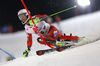 Sebastian Foss-Solevaag of Norway skiing in the first run of the men The Nightrace, night slalom race of the Audi FIS Alpine skiing World cup in Schladming, Austria. Men slalom race of the Audi FIS Alpine skiing World cup was held in Schladming, Austria, on Tuesday, 23rd of January 2018.